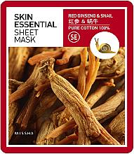 Parfumuri și produse cosmetice Cremă hidratantă de faţă - Missha Skin Essential Sheet Mask Ginseng & Snail