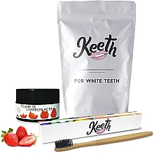 Parfumuri și produse cosmetice Set - Keeth Strawberry Charcoal Kit (toothbrush/1pc + toothpowder/15g + pack)