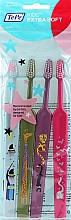 Parfumuri și produse cosmetice Periuțe de dinți pentru copii, albastru + verde + violet + roz - TePe Kids Extra Soft