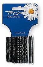 Parfumuri și produse cosmetice Elastice pentru păr 12 buc., negru+argintiu, 22357 - Top Choice