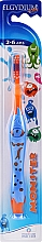 Parfumuri și produse cosmetice Periuță de dinți pentru copii 2-6 ani, portocalie - Elgydium Kids Monster Toothbrush