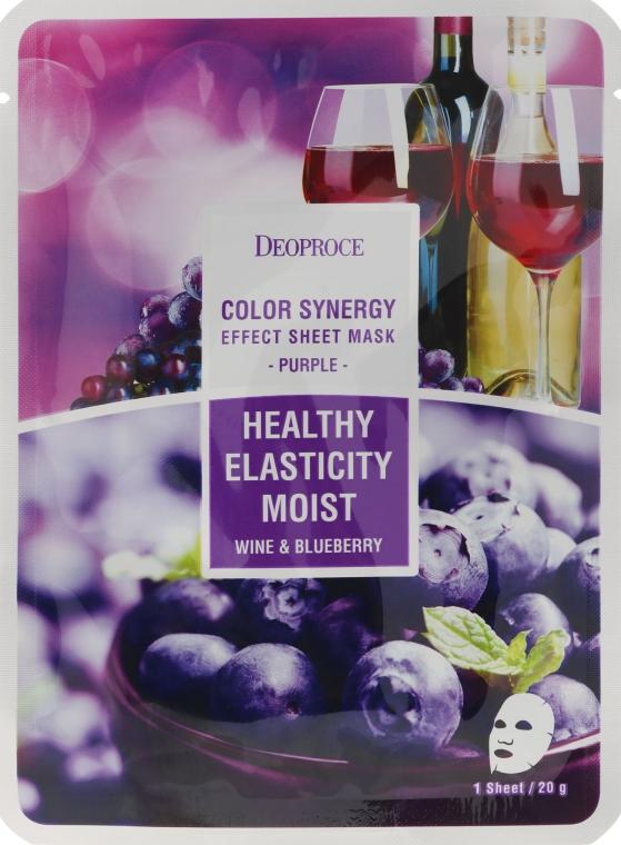 Mască de țesut pe bază de afine și struguri roșii - Deoproce Color Synergy Effect Sheet Mask Purple — Imagine N1