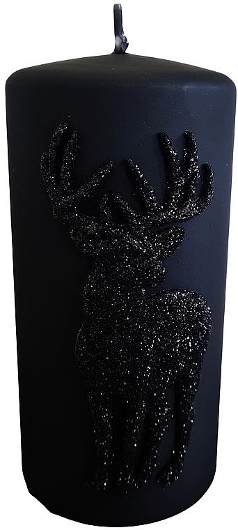Lumânare decorativă, neagră, 7x14 cm - Artman Jelen Application (Deep Application) — Imagine N1