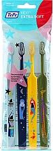 Parfumuri și produse cosmetice Periuțe de dinți pentru copii, albastru + albastru + verde + galben - TePe Kids Extra Soft