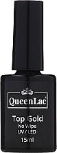 Parfumuri și produse cosmetice Top pentru gel-lac fără strat lipicios - QueenLac Top Gold No Wipe UV/LED
