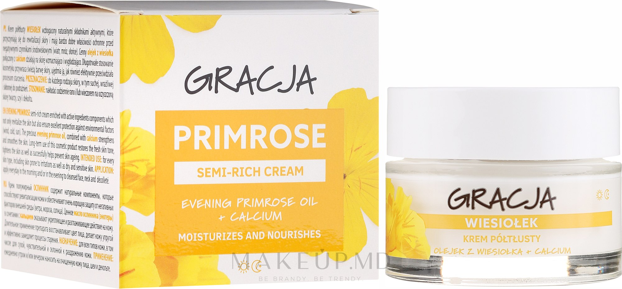 Cremă nutritivă cu ulei de primulă - Miraculum Gracja Semi-oily Cream With Evening Primrose — Imagine 50 ml