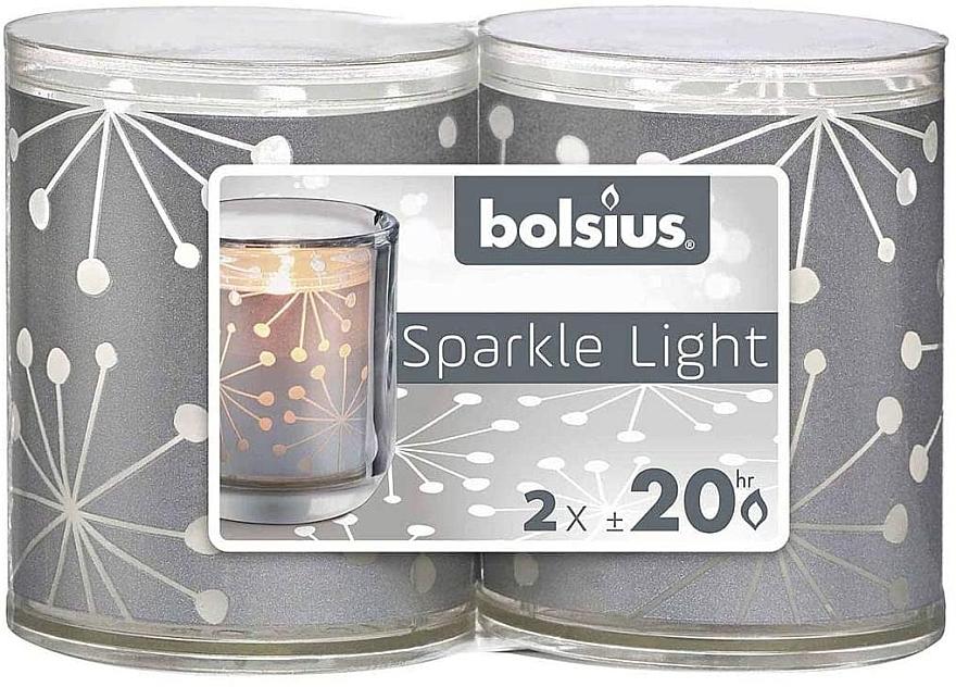 Lumânări cu suport - Bolsius Sparkle Lights Crystal Silver Candle — Imagine N1
