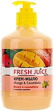 """Parfumuri și produse cosmetice Cremă-săpun pe baza uleiului de camelie """"Mango și carambola"""", cu dozator - Fresh Juice Mango & Carambol"""