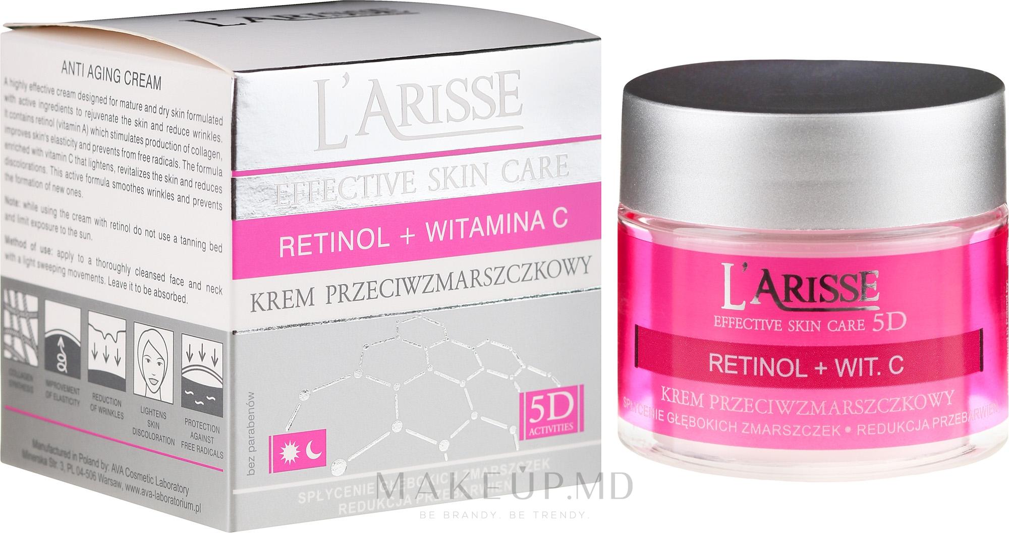 Cremă antirid cu retinol și vitamina C 50+ - Ava Laboratorium L'Arisse 5D Anti-Wrinkle Cream Retinol + Vitamin C — Imagine 50 ml