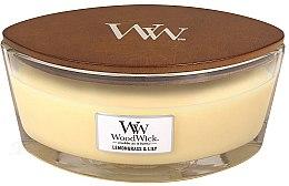 Parfumuri și produse cosmetice Lumânare aromată în suport de sticlă - Woodwick Hearthwick Flame Ellipse Candle Lemongrass & Lily