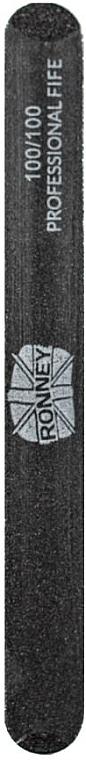 Pilă de unghii, 100/100, neagră, dreaptă - Ronney Professional