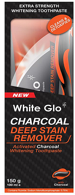 Set cu periuță portocalie - White Glo Charcoal Deep Stain Remover Toothpaste (toothpaste/150ml+toothbrush)