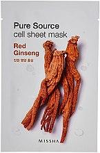 Parfumuri și produse cosmetice Mască de față regenerantă cu extract de ginseng roșu - Missha Pure Source Sheet Mask Red Ginseng