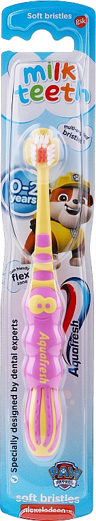 Periuță de dinți pentru copii, 0-2 ani, galben-roz - Aquafresh Milk Teeth Soft