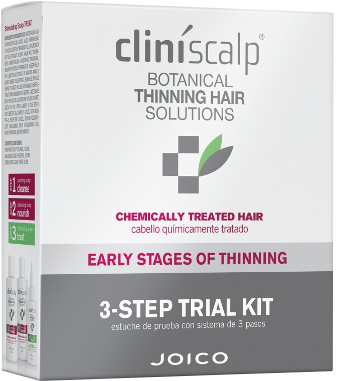 Set împotriva cheliei, păr vopsit - Joico Cliniscalp 3-step Trial Kit For Chemically Treated Hair Early Stages (shmp/100ml + cond/100ml + treat/50ml) — Imagine N1