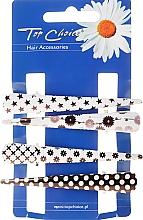 Parfumuri și produse cosmetice Agrafe de păr, 25099, alb-negru - Top Choice