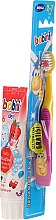 Parfumuri și produse cosmetice Set pastă+periuță de dinți, roz-galbenă - Bobini 2-7 (toothbrush + toothpaste/75ml)