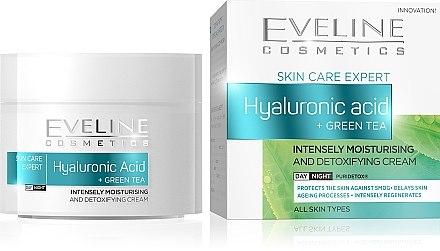 Cremă cu extract de ceai verde și acid hialuronic pentru față - Eveline Cosmetics Skin Care Expert Hyaluronic Acid & Green Tea Cream