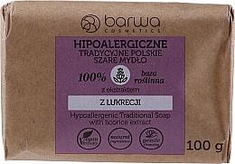 Parfumuri și produse cosmetice Săpun gri tradițional cu extract de lemn dulce - Barwa Hypoallergenic Traditional Soap With Licorice Extract