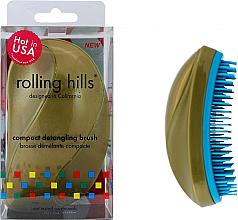 Parfumuri și produse cosmetice Perie compactă de păr, aurie - Rolling Hills Compact Detangling Brush Gold
