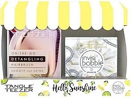 Parfumuri și produse cosmetice Набор - Tangle Teezer Compact Styler Hello Sunshine Set (brush/1szt + hair/tie/1szt)