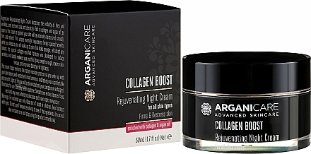 Cremă anti-îmbătrânire de noapte pentru față - Arganicare Collagen Boost Rejuvenating Night Cream — Imagine N1