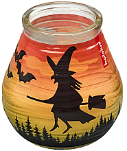 "Parfumuri și produse cosmetice Lumânare decorativă în suport de sticlă ""Patiolight Bat and Witch"", 94/91 mm - Bolsius Candle"