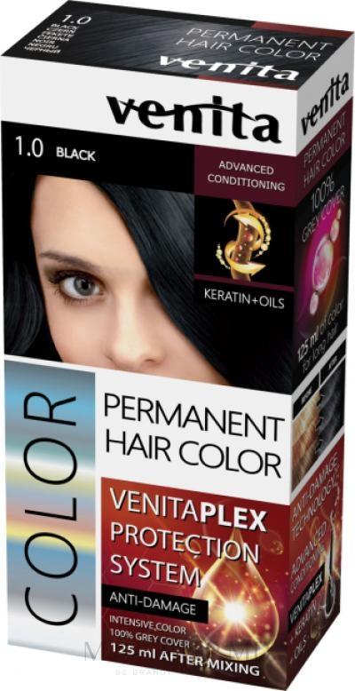 Vopsea de păr - Venita Plex Protection System Permanent Hair Color — Imagine 1.0 - Black