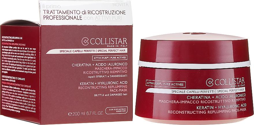 Mască pentru regenerarea părului - Collistar Pure Actives Keratin + Hyaluronic Acid Reconstructive Replumping Mask