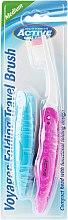Periuță de dinți pentru călătorii, roză - Beauty Formulas Voyager Active Folding Dustproof Travel Toothbrush Medium — Imagine N1