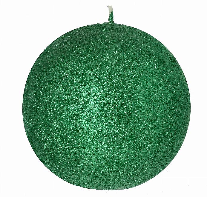 Lumânare decorativă, bilă, verde, 10 cm - Artman Glamour — Imagine N1