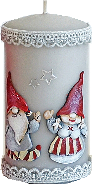 Lumânare decorativă, gri, 7x14cm - Artman Dwarves — Imagine N1