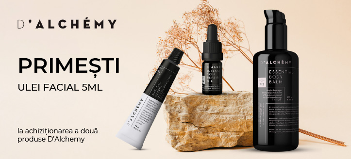 La achiziționarea a două produse D'Alchemy, primești în dar un ulei facial