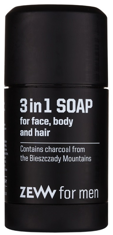 Săpun solid natural 3 în 1 - Zew For Men 3 in 1 Soap For Face Body And Hair — Imagine N1