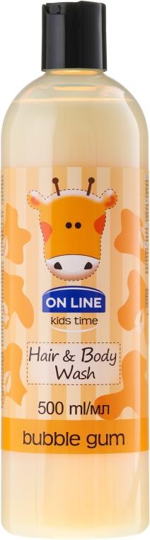 """Șampon-gel de duș """"Gumă de mestecat"""" - On Line Kids Time Hair & Body Wash Bubble Gum"""