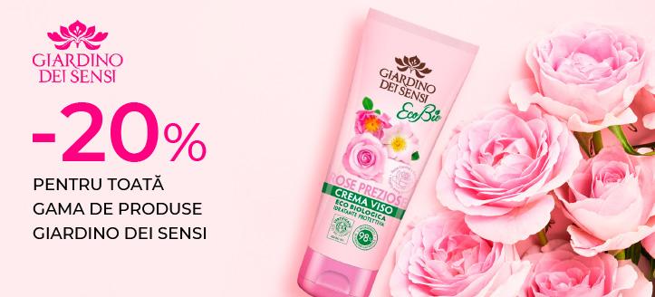 Reducere 20% pentru toată gama de produse Giardino Dei Sensi. Prețurile pe site sunt prezentate cu reduceri