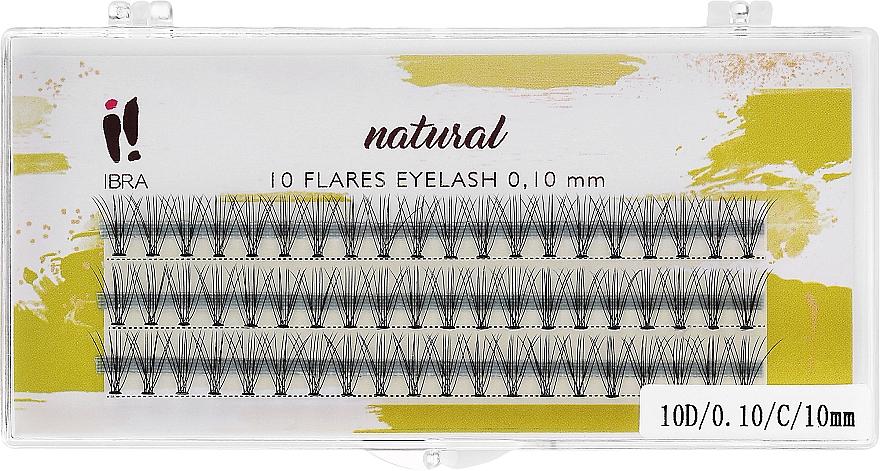Gene false, 0.10/C/10 mm - Ibra 10 Flares Eyelash Knot Free Naturals — Imagine N1