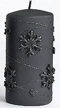 Parfumuri și produse cosmetice Lumânare decorativă, neagră, 7x14 cm - Artman Snowflake Application