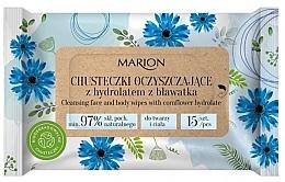Parfumuri și produse cosmetice Șervețele de curățare cu hidrolat de flori de porumb pentru față și corp, 15 buc - Marion