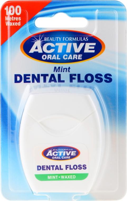 Зубная нить со вкусом мяты - Beauty Formulas Active Oral Care Dental Floss Mint Waxed 100m