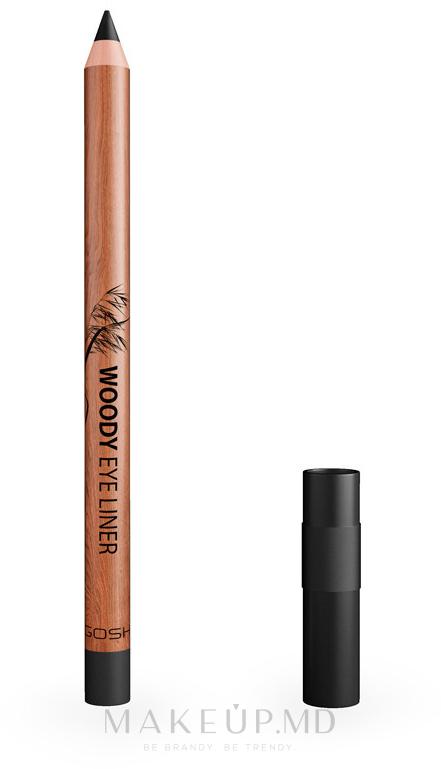 Водостойкий карандаш для глаз - Gosh Woody Eye Liner — фото 01 - Ebony Black