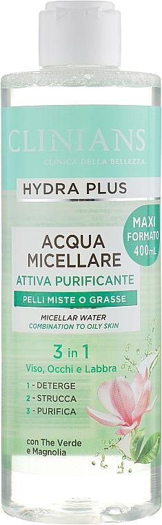 "Мицеллярная вода 3в1 ""Зеленый чай и магнолия"" - Clinians Hydra Plus Acqua Micellare — фото N1"