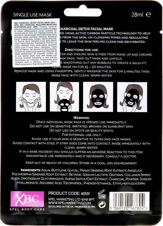 Mască de curățare pentru față, cu argilă - Xpel Marketing Ltd Body Care Black Tissue Charcoal Detox Facial Face Mask — Imagine N2
