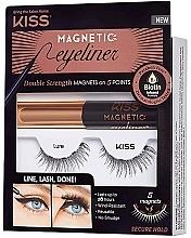 Parfumuri și produse cosmetice Set - Kiss Magnetic Eyeliner & Lash Kit Lure (eyeliner/5g + lashes)