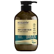 """Parfumuri și produse cosmetice Cremă pentru mâini și corp """"SOS Hidratare profundă. Aloe vera, nucă de cocos și pantenol"""" - Ecolatier Urban Moisturizing Body & Hand Cream"""
