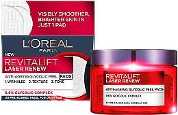 Parfumuri și produse cosmetice Burete pentru curățarea feței - L'Oreal Revitalift Laser Renew Anti-Ageing Glycolic Peel Pads