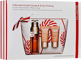 Parfumuri și produse cosmetice Set - Clarins Double Serum & Extra-Firming Set (serum/30ml + cr/15ml + cr/15ml + bag)