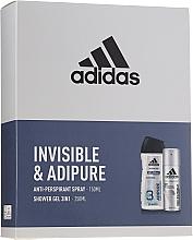 Parfumuri și produse cosmetice Set - Adidas Pro Invisible & Adipure (sh/gel/250ml + deo/spray/150ml)