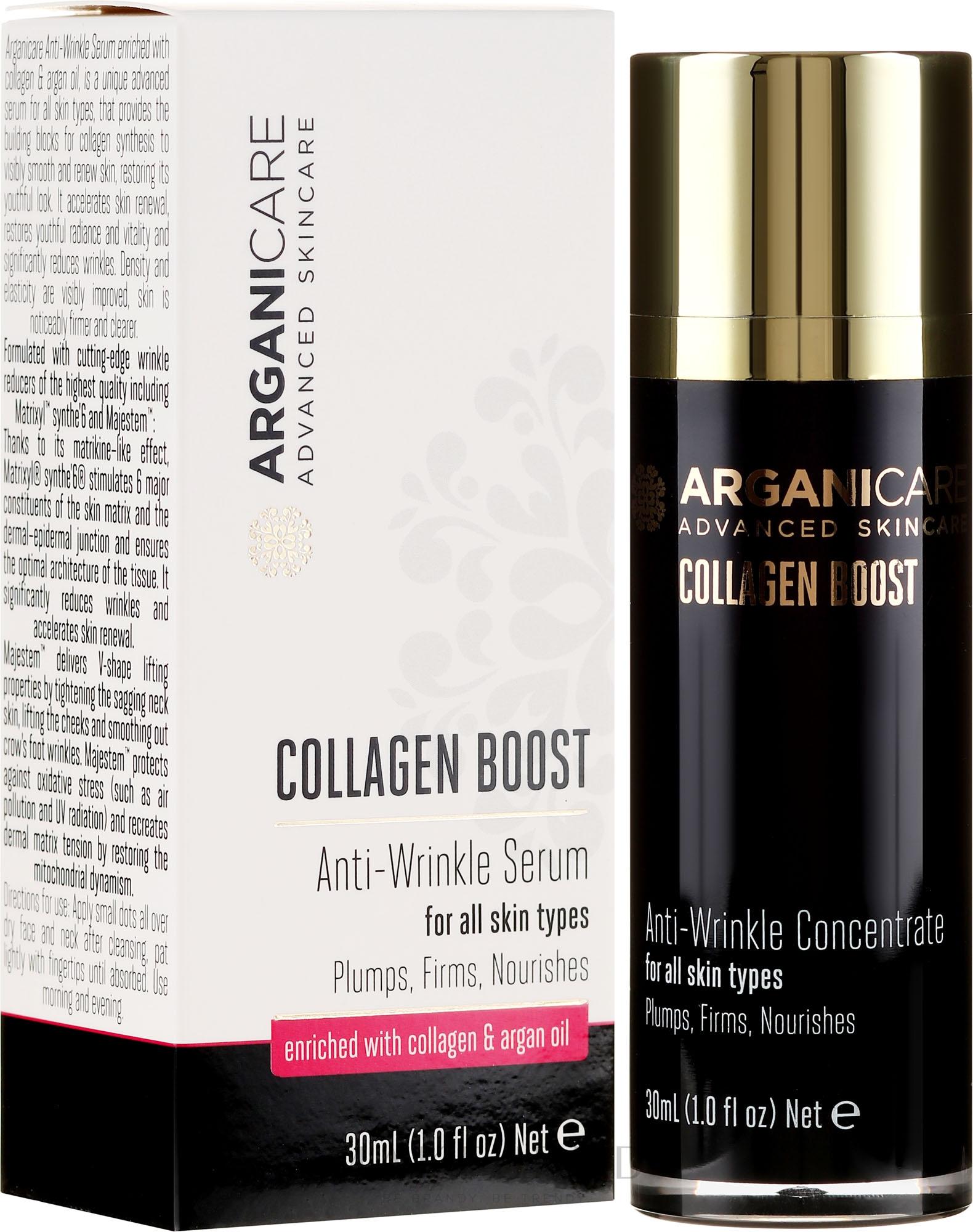 Ser antirid pentru față - Arganicare Collagen Boost Anti-Wrinkle Serum — Imagine 30 ml