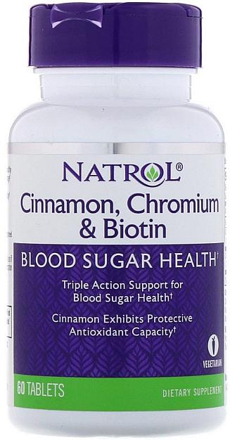 "Supliment alimentar, acțiune triplă ""Scorțișoară, Crom și Biotină"" - Natrol Cinnamon, Chromium & Biotin"
